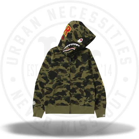 BAPE 1st Camo Windstopper PONR Shark Full Zip Hoodie Green-Urban Necessities