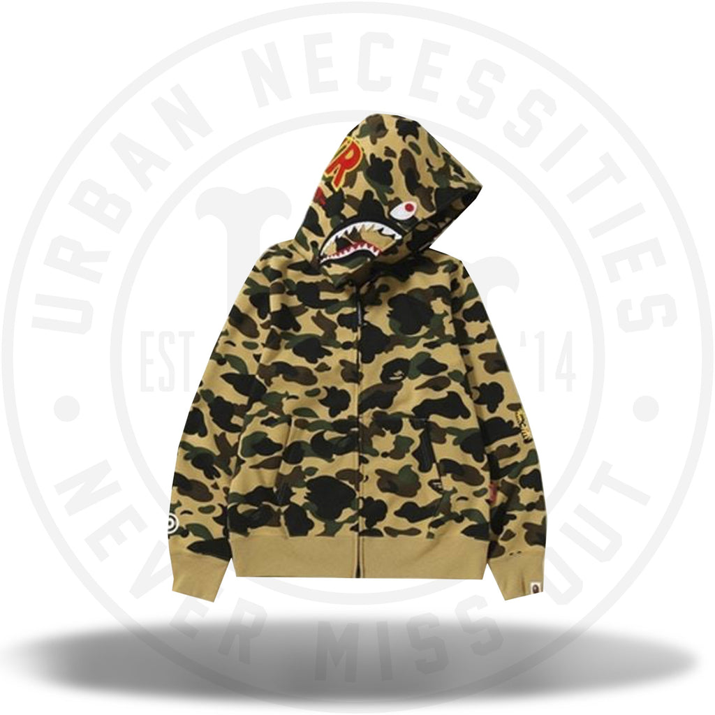 BAPE 1st Camo Windstopper PONR Shark Full Zip Hoodie Yellow-Urban Necessities
