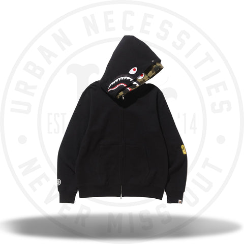 Bape 2nd Shark Wide Full Zip Double Hoodie Black-Urban Necessities