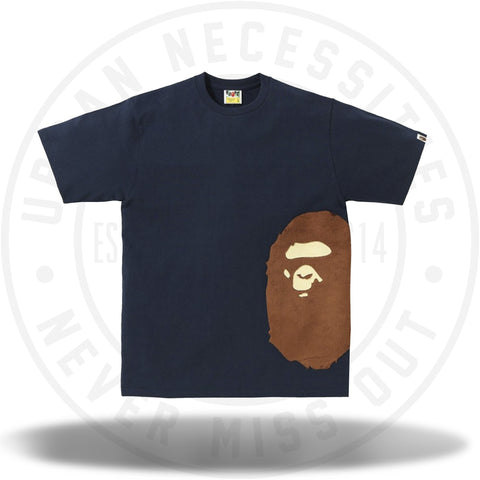 Bape A Bathing Ape Side Head Fur Tee Navy-Urban Necessities