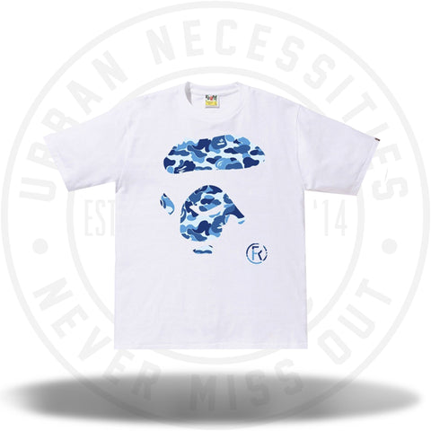 BAPE ABC Ape Face Tee White/Blue-Urban Necessities