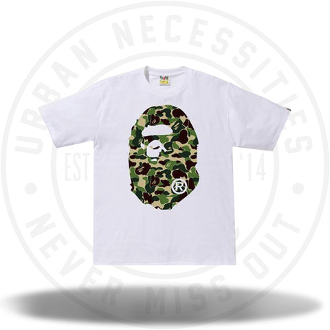 Bape ABC Camo Ape Head Tee White/Green-Urban Necessities