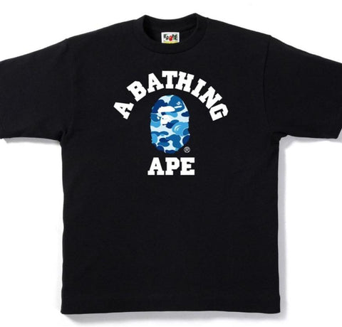 Bape ABC Camo College Tee Black/Blue-Urban Necessities