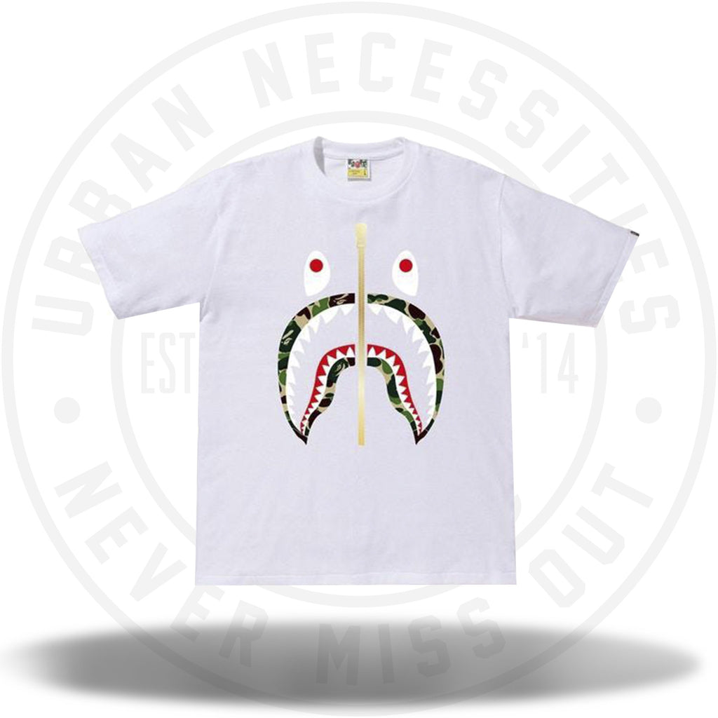BAPE ABC Gold Zip Shark Tee White/Green-Urban Necessities