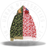BAPE ABC Separate Shark Full Zip Hoodie Pink/Green-Urban Necessities