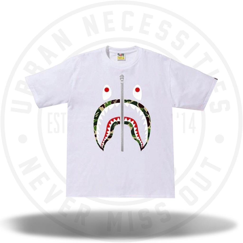 BAPE ABC Shark Silver Zip Tee White/Green-Urban Necessities