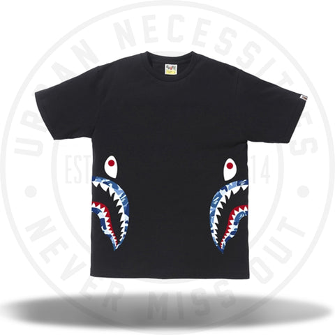 Bape ABC Side Shark Tee Black Blue-Urban Necessities