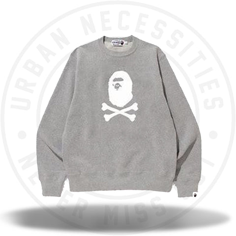 Bape Ape Crossbone Crewneck Grey-Urban Necessities