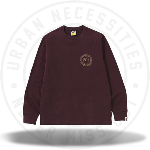 Bape ATS Circle LS Tee Burgundy-Urban Necessities