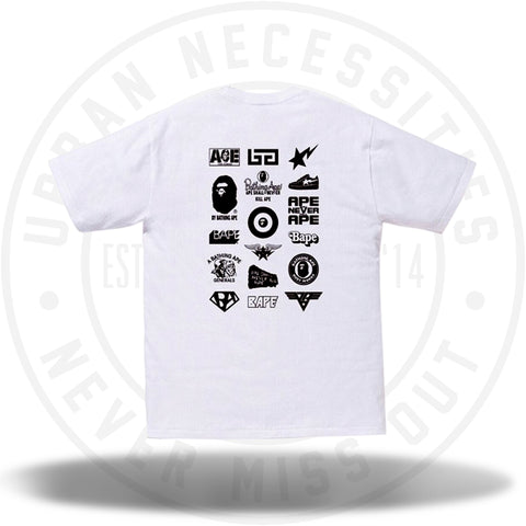 Bape Bicolor Multi Logo Tee White/Black-Urban Necessities