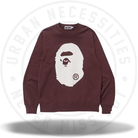 Bape Big Ape Head Crewneck Burgundy-Urban Necessities