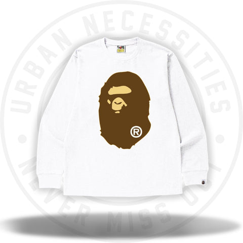 Bape Big Ape Head L/S Tee White-Urban Necessities