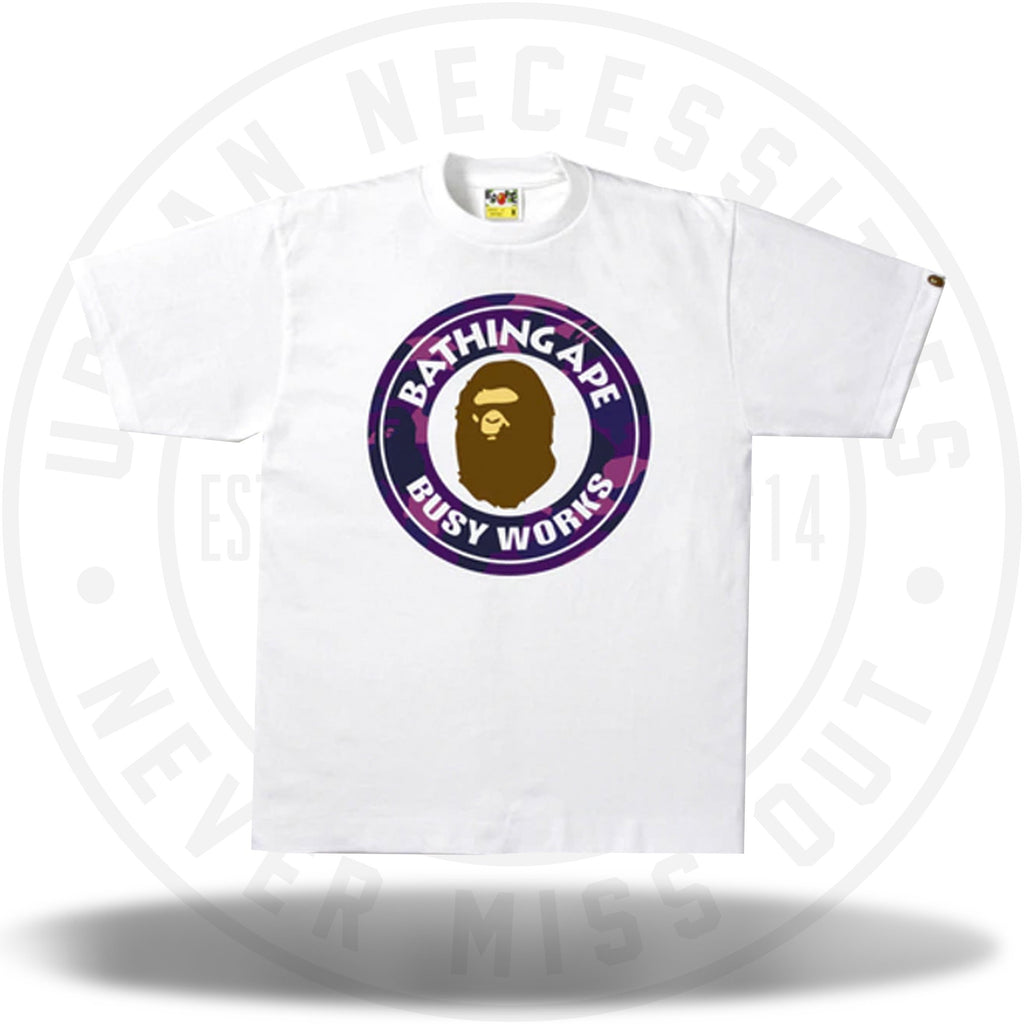 Bape Busy Works Tee White/Purple-Urban Necessities