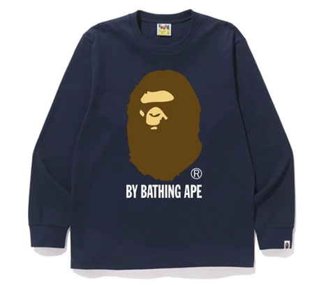 BAPE By Bathing L/S Tee Navy-Urban Necessities
