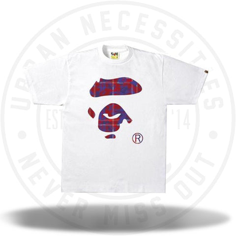 BAPE Check Camo Ape Face Tee White/Red-Urban Necessities