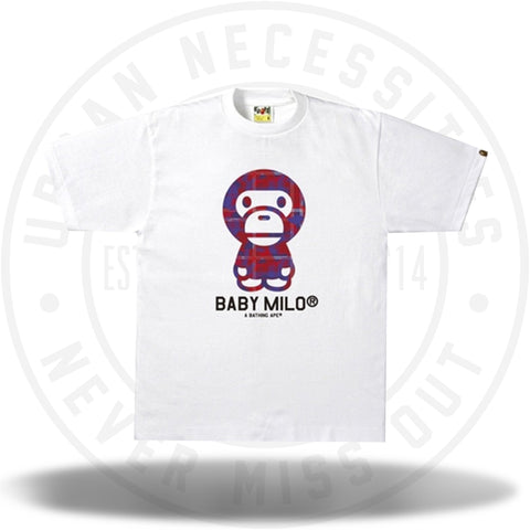 BAPE Check Camo Baby Milo Tee White/Red-Urban Necessities