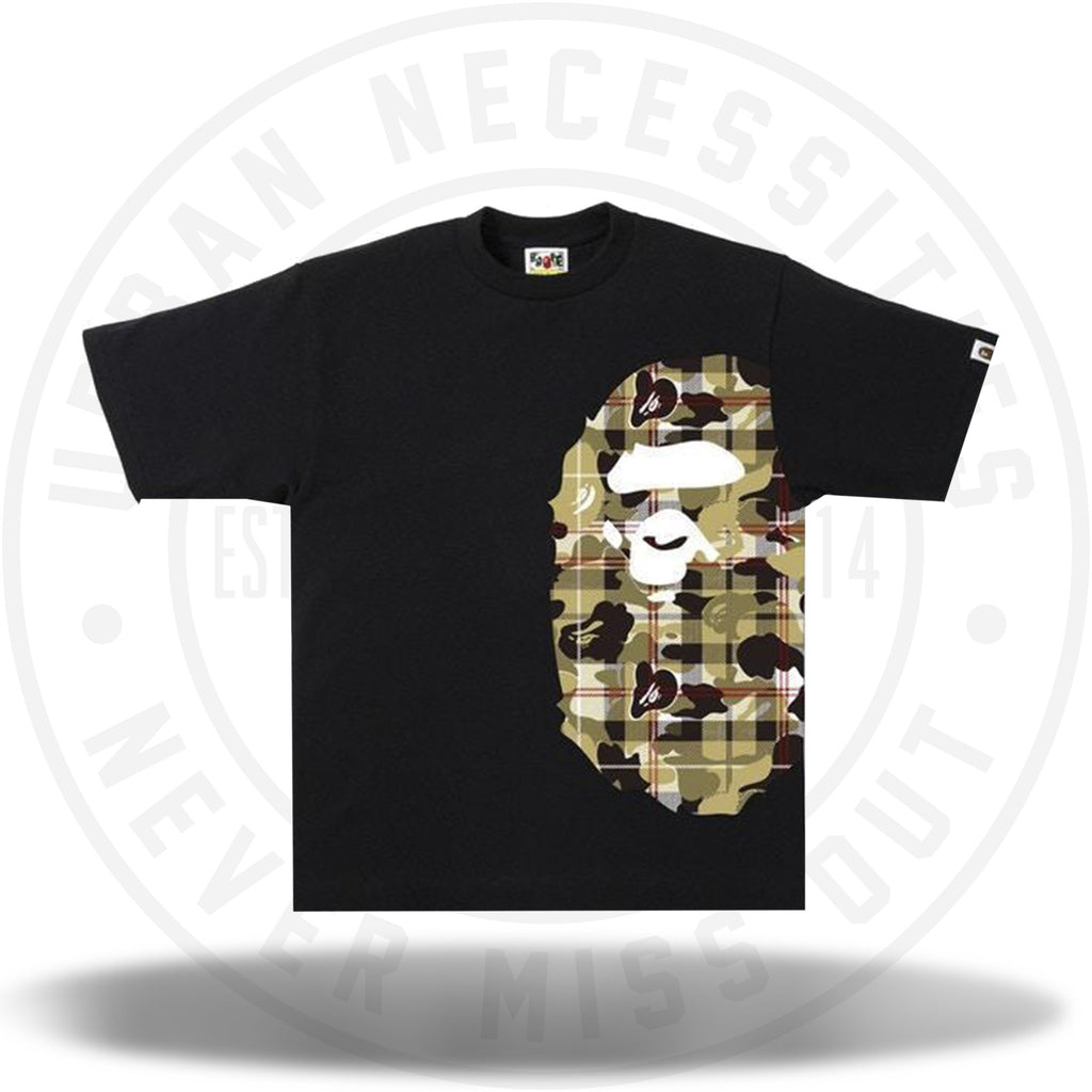 BAPE Check Camo Side Big Ape Head Tee Black/Beige-Urban Necessities