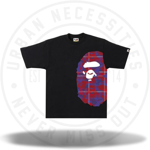 BAPE Check Camo Side Big Ape Head Tee Black/Red-Urban Necessities