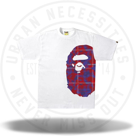 BAPE Check Camo Side Big Ape Head Tee White/Red-Urban Necessities