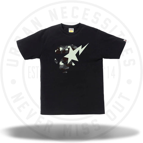 BAPE City Camo Ape Face On Bapesta Tee Black/Black-Urban Necessities