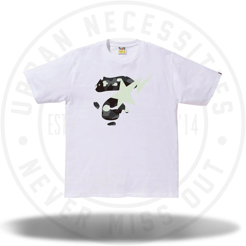 BAPE City Camo Ape Face On Bapesta Tee White/Black-Urban Necessities