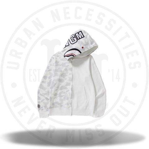 Bape City Camo Half Shark Full Zip Hoodie White-Urban Necessities