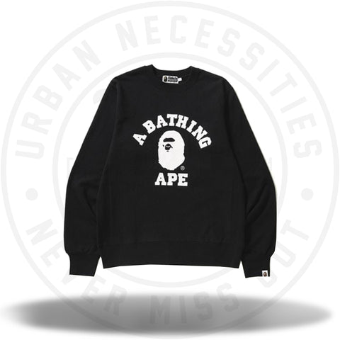 BAPE College Crewneck Black/White-Urban Necessities
