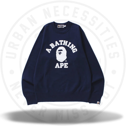 Bape College Crewneck Navy-Urban Necessities