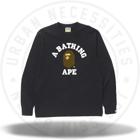 BAPE College L/S Tee Black-Urban Necessities