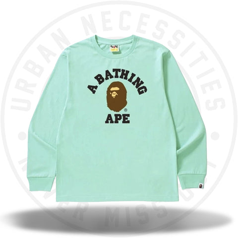 BAPE College L/S Tee Green-Urban Necessities