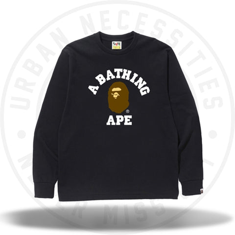 Bape College L/S Tee Navy-Urban Necessities