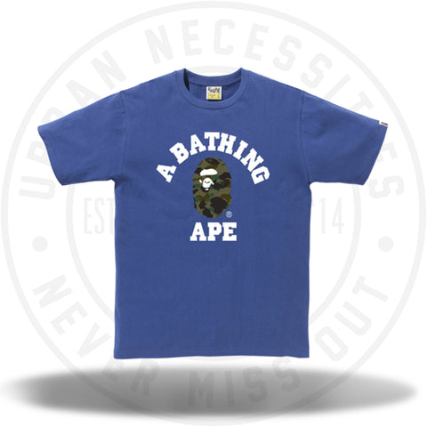 Bape College Tee Blue/Green Camo-Urban Necessities