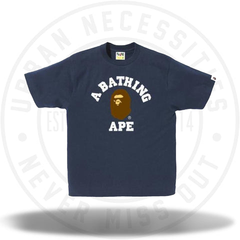 Bape College Tee Navy-Urban Necessities