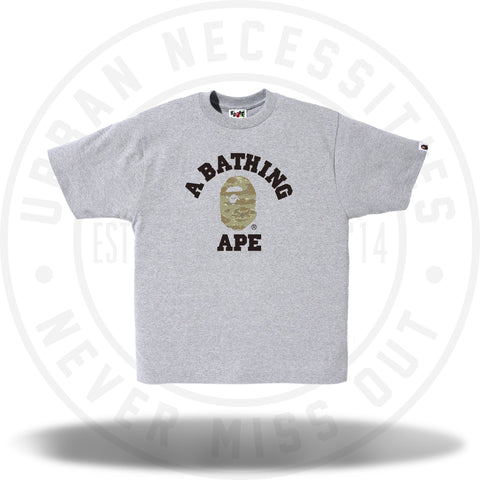 Bape College Tee Tiger Camo Grey/Beige-Urban Necessities