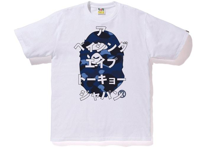 BAPE Color Camo Ape Head Katakana Tee White/Blue-Urban Necessities