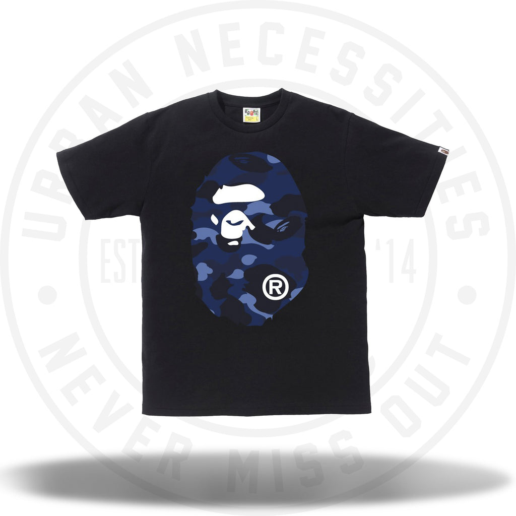 Bape Color Camo Big Ape Head Tee Black/Navy-Urban Necessities