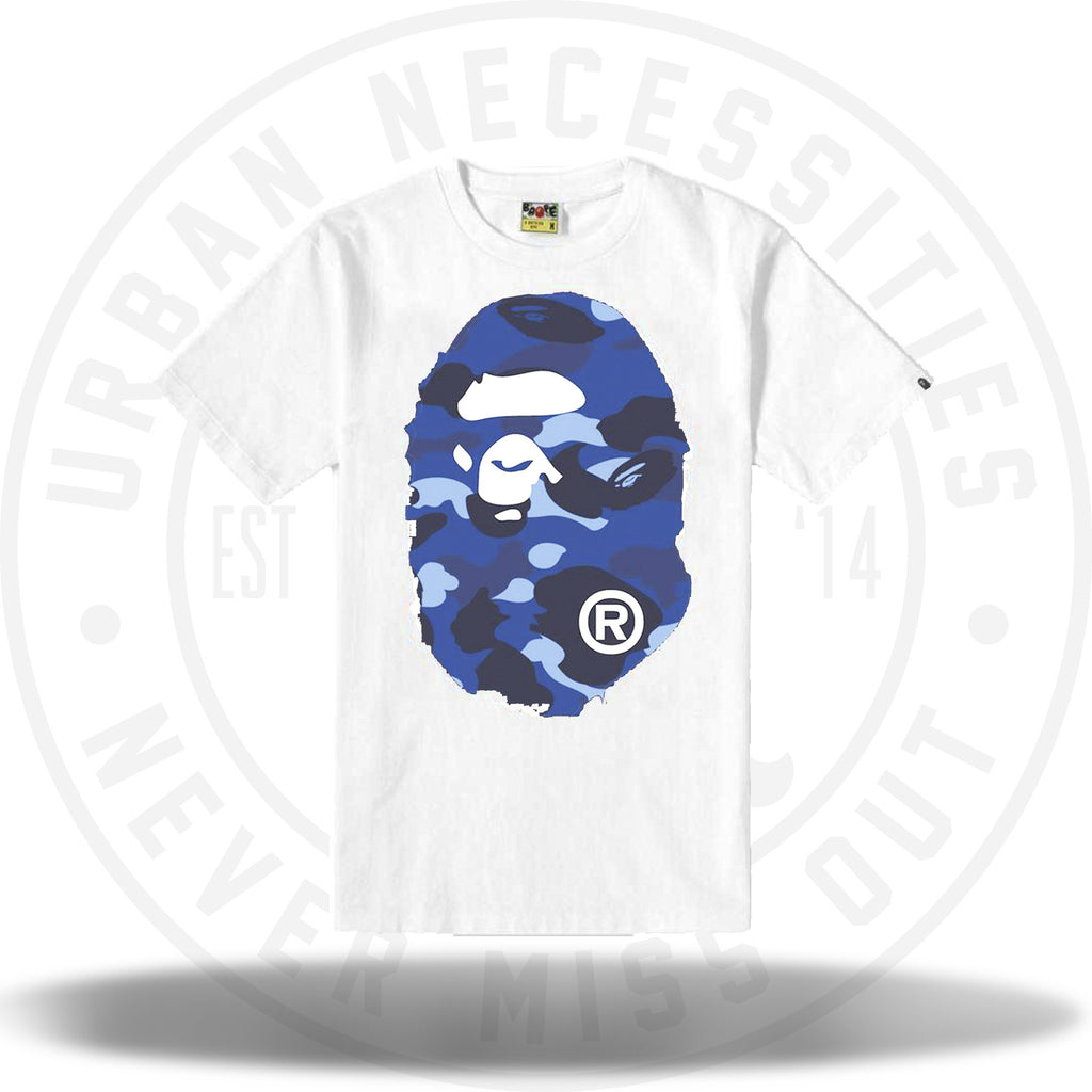 Bape Color Camo Big Ape Head Tee White/Navy-Urban Necessities
