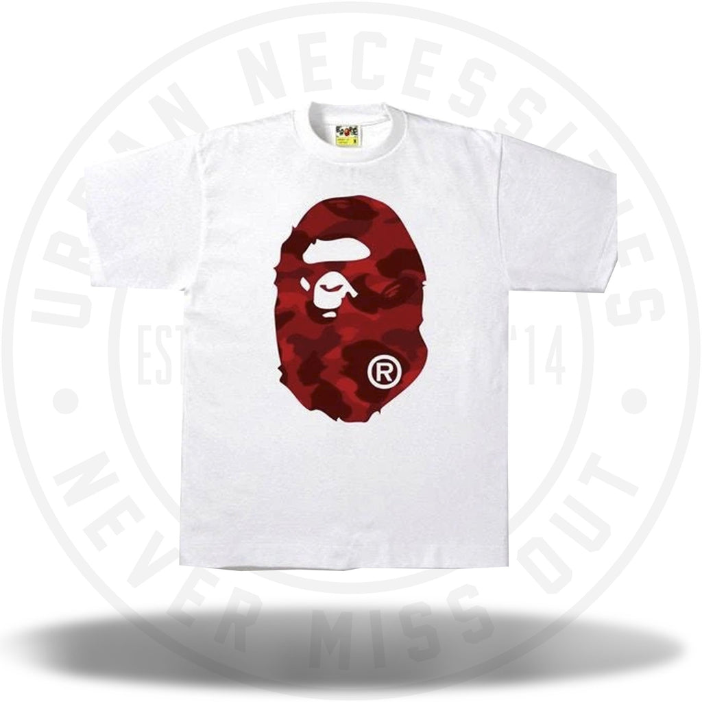 Bape Color Camo Big Ape Head Tee White/Red-Urban Necessities