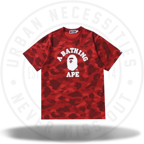 BAPE Color Camo College Tee Red-Urban Necessities