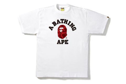 Bape Color Camo College Tee White/Red-Urban Necessities
