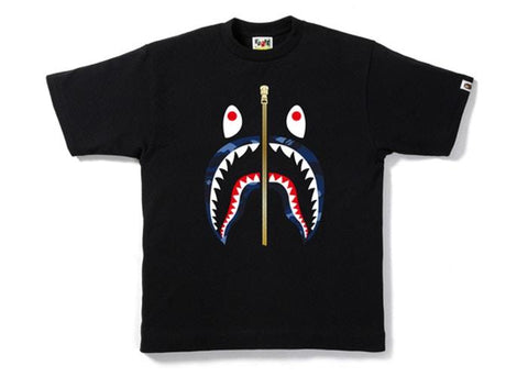 BAPE Color Camo Gold Zip Shark Tee Black/Blue-Urban Necessities