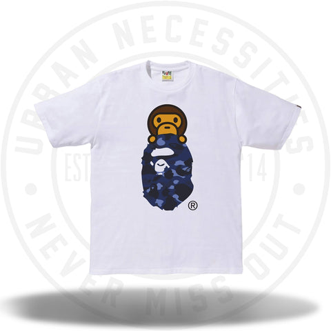Bape Color Camo Milo on Ape Head Tee White/Blue-Urban Necessities