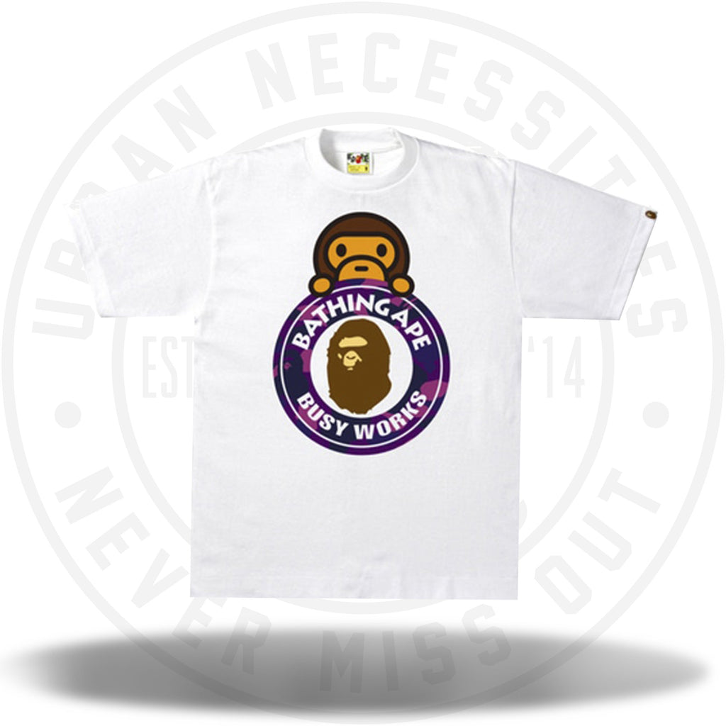 BAPE Color Camo Milo On Busy Works Tee White/Purple-Urban Necessities