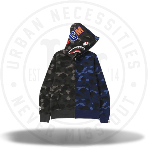 Bape Color Camo Separate Shark Full Zip Hoodie Black/Blue-Urban Necessities