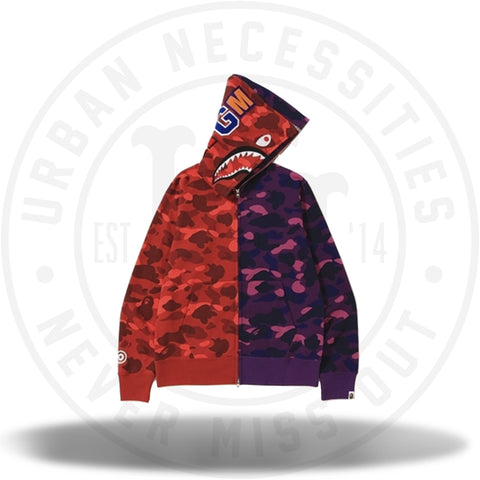 Bape Color Camo Separate Shark Full Zip Hoodie Red/Purple-Urban Necessities