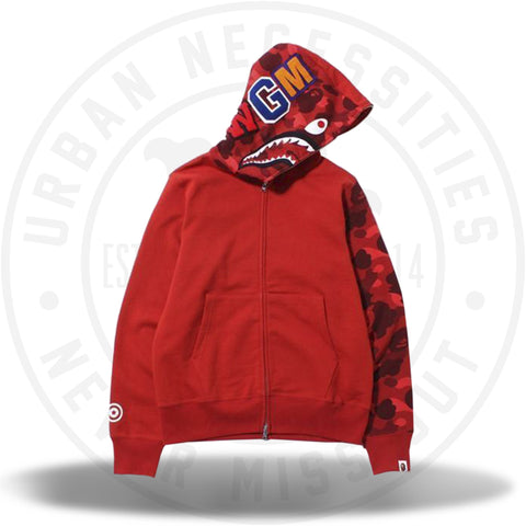 Bape Color Camo Shark Full Zip Hoodie Red-Urban Necessities