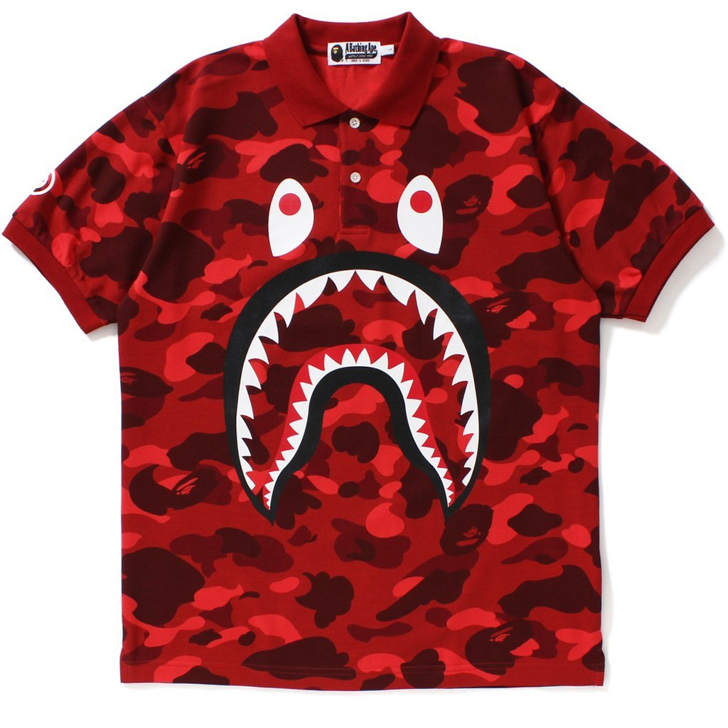 Bape Color Camo Shark Polo Red-Urban Necessities