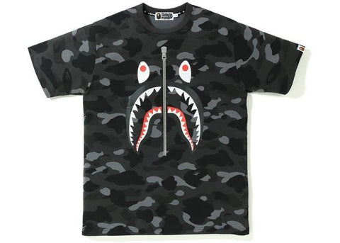 BAPE Color Camo Shark Tee Black-Urban Necessities