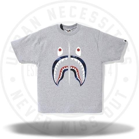 Bape Color Camo Shark Tee Tee Gray/Navy-Urban Necessities