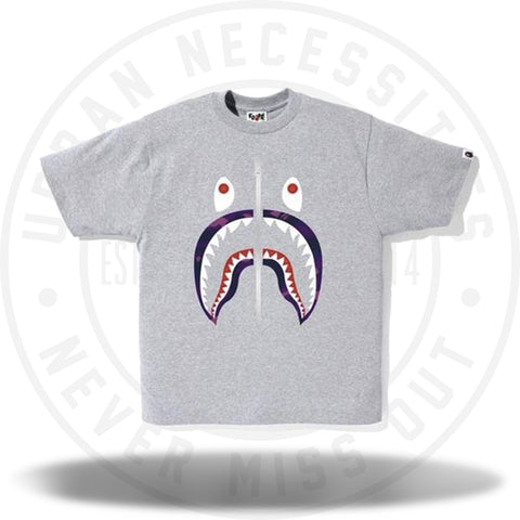 Bape Color Camo Shark Tee Tee Gray/Purple-Urban Necessities